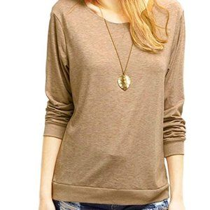 Brown Loose-Fitted Long Sleeve Top